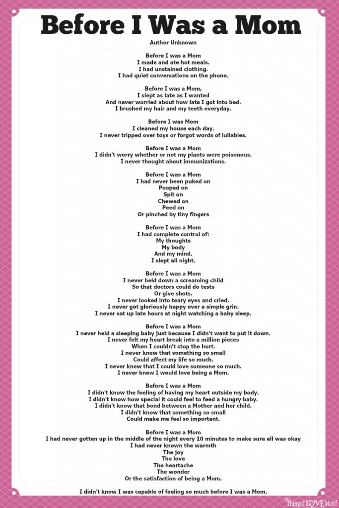 Before I was a mom Poem Printable | The Things I Love Most