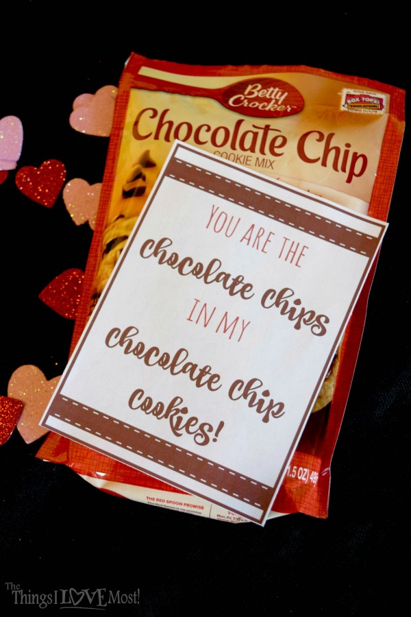 Chocolate Chip Cookie Valentine Printable - Easy Valentine's Day Gifts