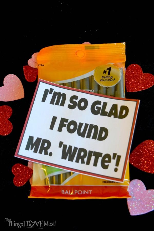 Mr. 'Write' Valentine Printable - Easy Valentine's Day Gifts