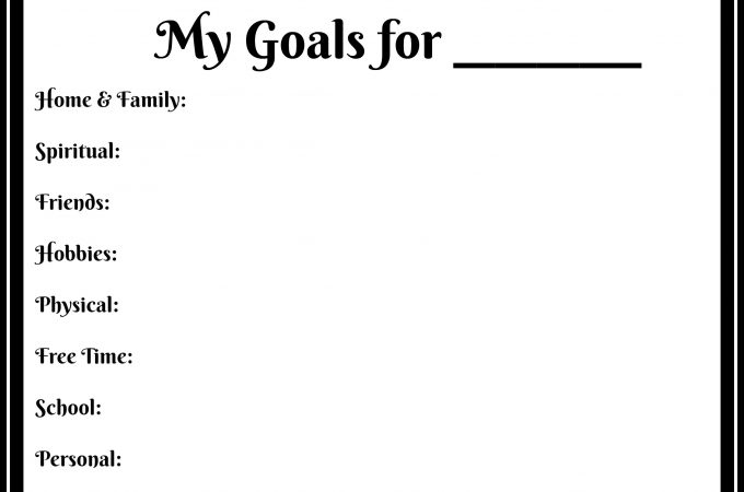 Goal Printable the Whole Family Can Use
