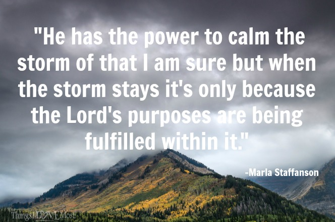 He has the power to calm the storm of that I am sure but when the storm stays it's only because the Lord's purposes are being fulfilled within it.""